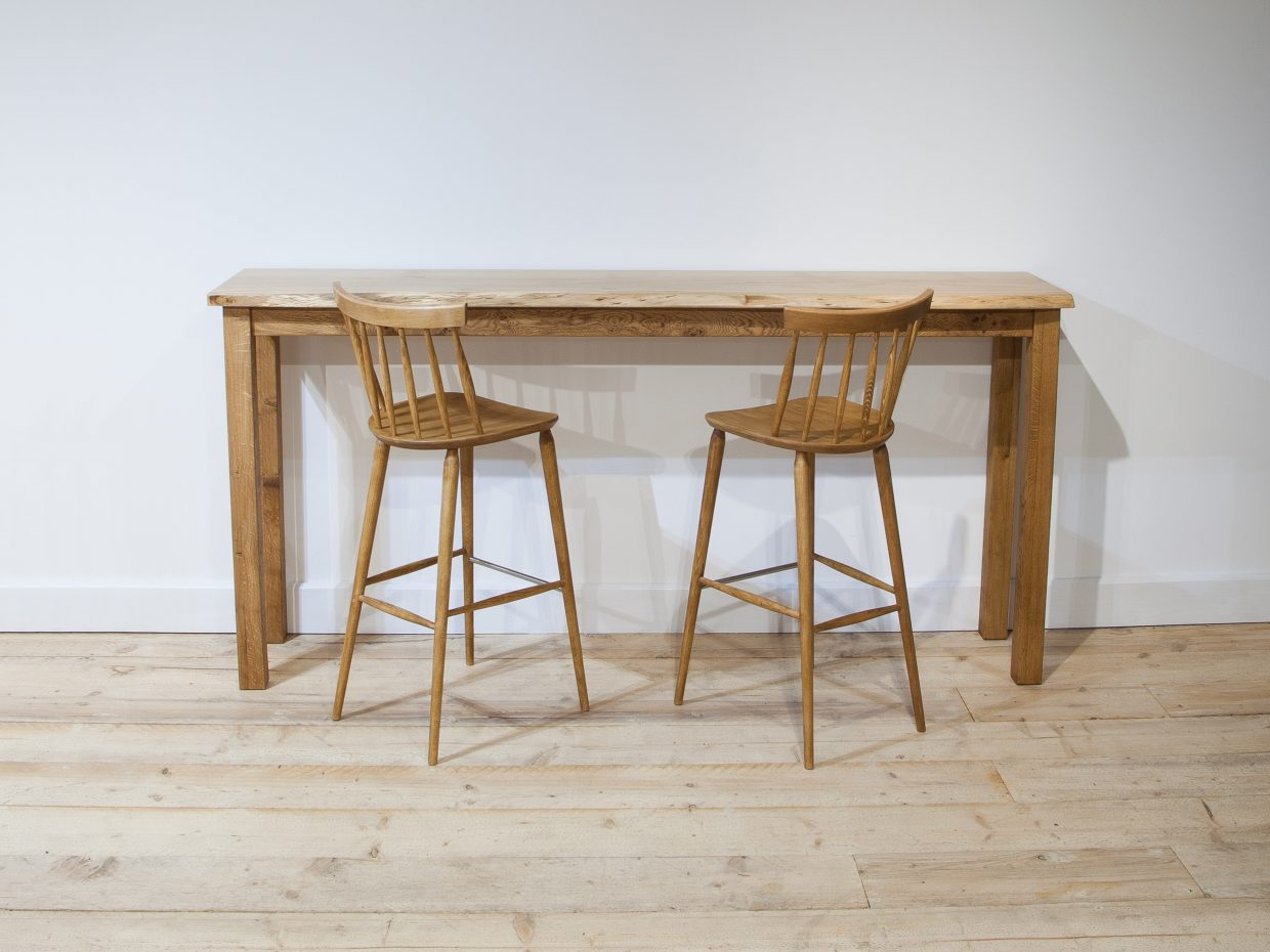 Incredible High Oak Bar Table And Stools Steven Baker Furniture Theyellowbook Wood Chair Design Ideas Theyellowbookinfo
